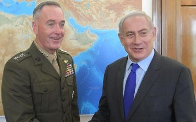 Prime Minister Benjamin Netanyahu and US Chairman of the Joint Chiefs of Staff Gen. at the Prime Minister's Office in Jerusalem on April 9, 2017. (Amos Ben-Gershom/GPO)