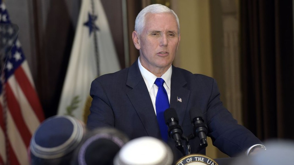 Vice President Mike Pence speaks in the Indian Treaty Room in the Eisenhower Executive Office Building at the White House complex in Washington, Tuesday, May 2, 2017, during a ceremony commemorating Israeli Independence Day. (AP/Susan Walsh)