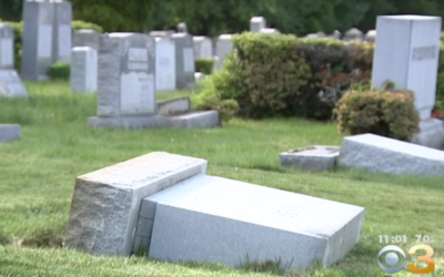Toppled tombstones at the Adath Jeshurun Cemetery in Philadelphia on May 16, 2017. (Screen capture: CBS Philly)