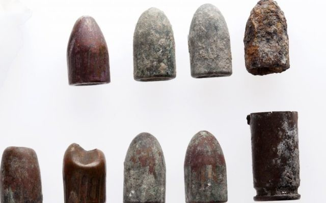 The Temple Mount Sifting Project uncovered these 9 mm bullets used as an Uzi's ammunition in rubble.  (Tal Rogovski)
