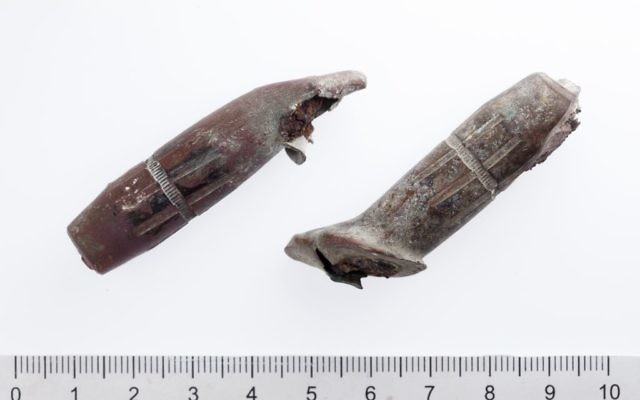 The Temple Mount Sifting Project uncovered these two 50-caliber projectiles, which were probably fired from a Browning heavy machine gun. The bullet tips are warped indicating that they hit a hard surface (Tal Rogovski)
