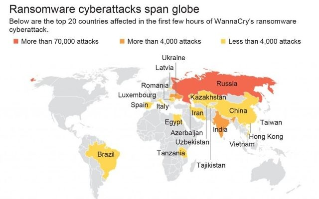 Map locates top 20 countries affected in the first hours of the global ransomware cyberattack in May 2017. (AP)