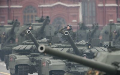 Russian soldiers drive military vehicles along Red Square during the Victory Day military parade to celebrate 72 years since the end of WWII and the defeat of Nazi Germany, in Moscow, Russia, on Tuesday, May 9, 2017. (AP Photo/Ivan Sekretarev)