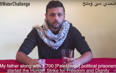 Marwan Barghouti's son, Aarab, challenges others to drink salt water in solidarity with a Palestinian prisoners hunger strike in Israeli jails. (YouTube)