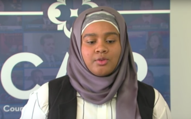 Maryland high school basketball player Je'Nan Hayes, who was left out of her team's final game of the season in March 2017 because she was wearing a hijab (YouTube screenshot)