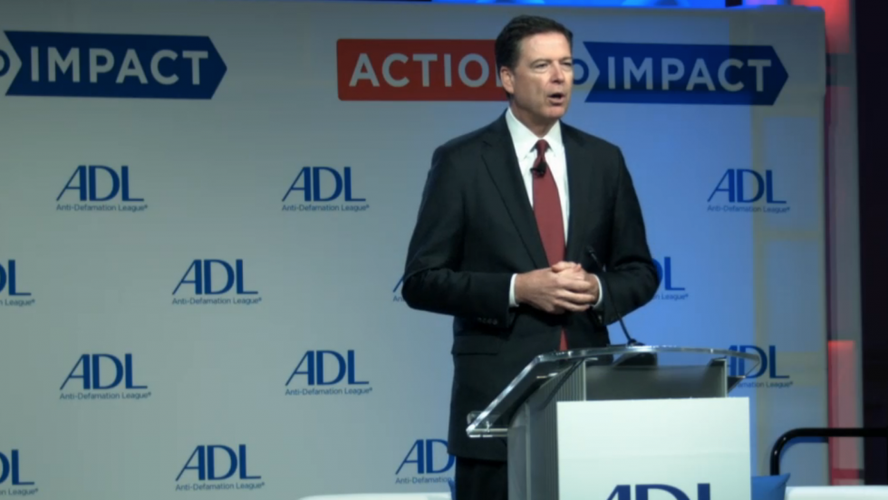 FBI Director James Comey addresses the Anti-Defamation League's annual National Summit at the Mayflower Hotel in Washington DC on May 8, 2017 (screen capture)