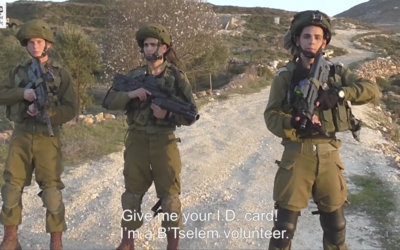 IDF troops filmed by a Palestinian activist with the left-wing B'Tselem human rights organization in February 2017. (Screen capture: B'Tselem)