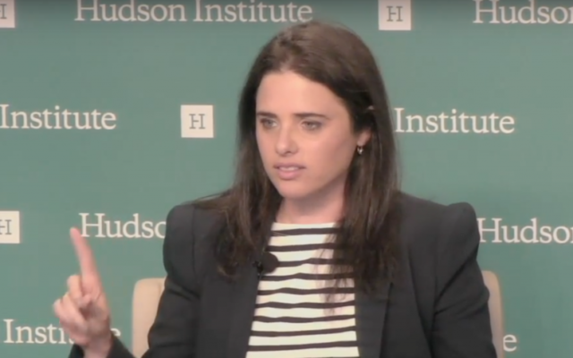 Israel's Justice Minister Ayelet Shaked speaks at the Hudson Institute in Washington, DC on May 10, 2017 (screen capture)
