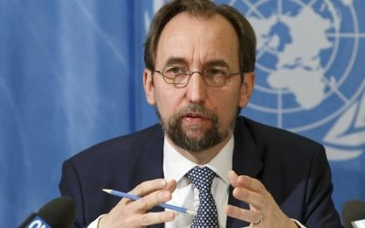 UN High Commissioner for Human Rights, Jordan's Zeid Ra'ad al Hussein, speaks to the media during a news conference at the European headquarters of the United Nations in Geneva, Switzerland, May 1, 2017. (Salvatore Di Nolfi/AP)