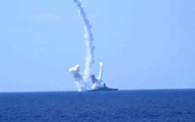 In this Friday, Aug. 19, 2016, file frame grab provided by the Russian Defense Ministry, long-range Kalibr cruise missiles are launched by a Russian Navy ship in the eastern Mediterranean.  (Russian Defense Ministry Press Service photo via AP, File)