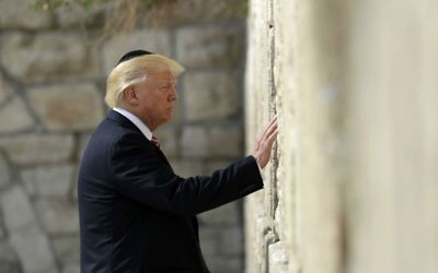 US President Donald Trump visits the Western Wall, May 22, 2017, in Jerusalem. (AP Photo/Evan Vucci)