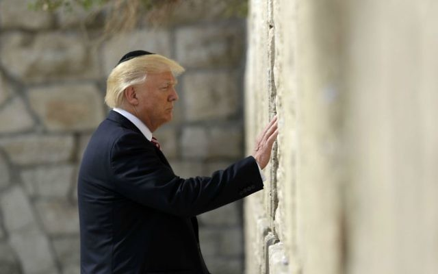 US President Donald Trump visits the Western Wall, Monday, May 22, 2017, in Jerusalem. (AP Photo/Evan Vucci)
