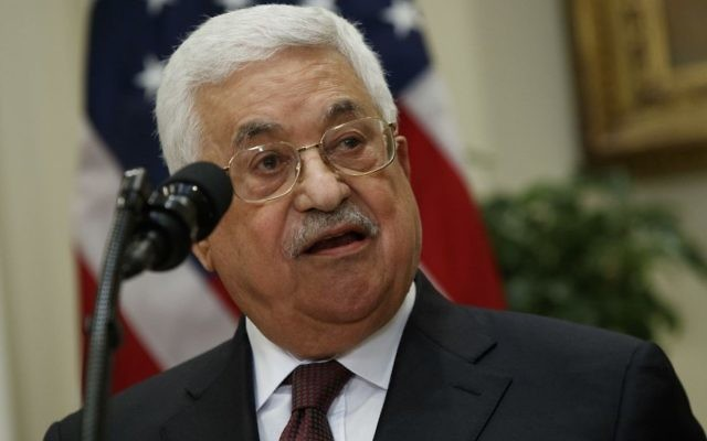 Palestinian Authority President Mahmoud Abbas speaks in the Roosevelt Room of the White House in Washington, Wednesday, May 3, 2017, where he and President Donald Trump spoke. (AP Photo/Evan Vucci)