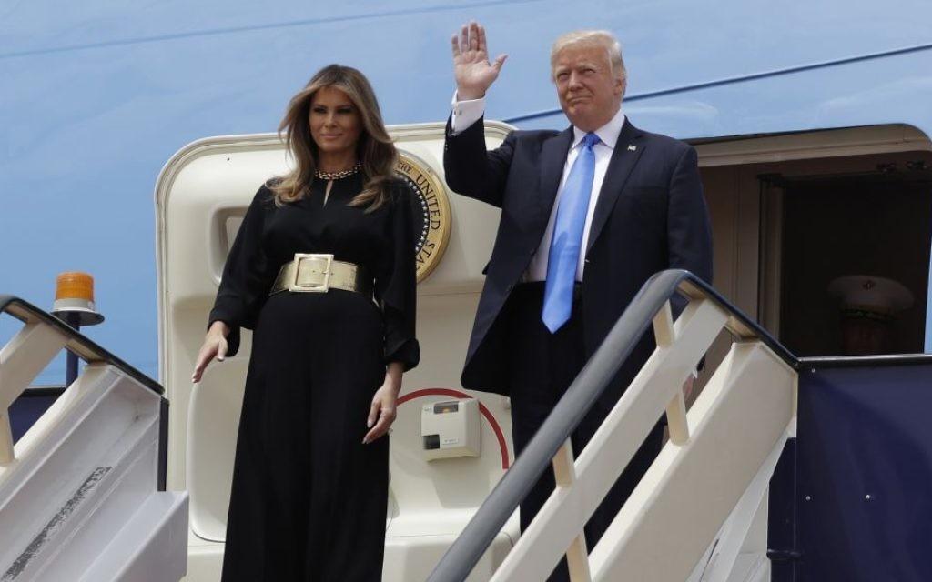 US President Donald Trump and First Lady Melania Trump arrive at the Royal Terminal of King Khalid International Airport, Saturday, May 20, 2017, in Riyadh. (AP Photo/Evan Vucci)