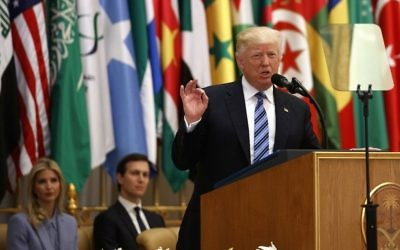 US President Donald Trump delivers a speech to the Arab Islamic American Summit, at the King Abdulaziz Conference Center, Sunday, May 21, 2017, in Riyadh, Saudi Arabia. (AP Photo/Evan Vucci)