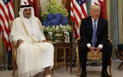 US President Donald Trump, right, holds a bilateral meeting with Qatar's Emir Sheikh Tamim Bin Hamad Al Thani, Sunday, May 21, 2017, in Riyadh. (AP Photo/Evan Vucci)