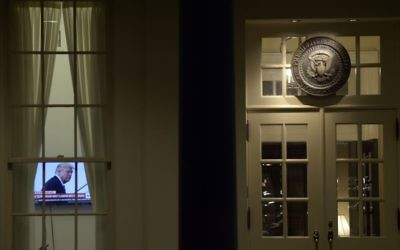 A television set is on in the West Wing of the White House in Washington, Monday, May 15, 2017. (AP/Susan Walsh)