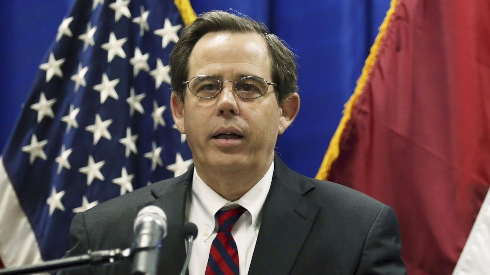 Acting assistant secretary for the US State Department Bureau of Near Eastern Affairs Stuart Jones speaks at a news conference at the US Embassy in the heavily fortified Green Zone in Baghdad, Iraq, October 1, 2015. (AP/Khalid Mohammed)