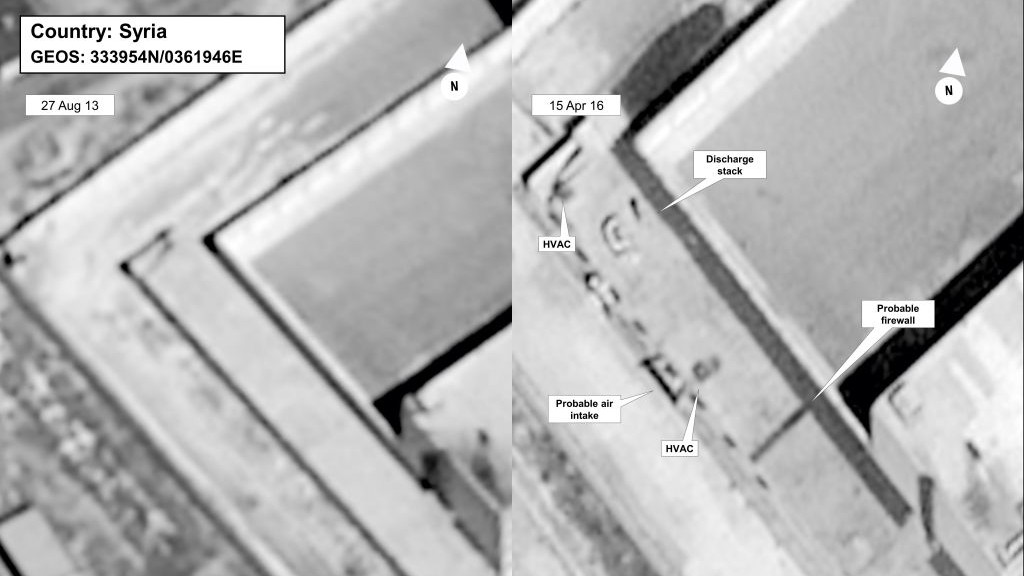 This image provided by the State Department and DigitalGlobe, taken Aug. 27, 2013, left, and April 16, 2015, satellite images of what the State Department described as a building in a prison complex in Syria that was modified to support a crematorium. (State Department/DigitalGlobe via AP)