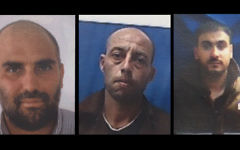 From left, Fares al-Umari, Muhammad Masri and Mahmoud Luisi, who are charged with planning to carry out shooting attacks against IDF soldiers in the Negev desert on behalf of the Islamic Movement. (Shin Bet)