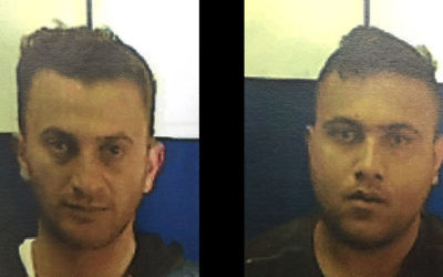 Louis Ahmad Shafik Saabana, left, and his cousin Mahmoud Shafik Saabana, arrested on suspicion of carrying out shooting attacks on Israeli civilians and soldeirs in the northern West Bank in April 2017. (Shin Bet)