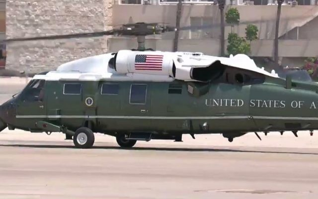 Marine One takes off from Ben Gurion Airport with US President Donald Trump on board, on Monday, May 22, 2017 (screen capture: GPO)