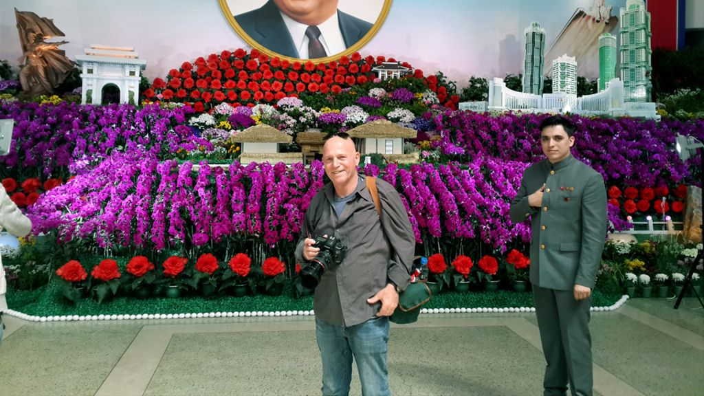 Moshe Shai during his visit to North Korea. (Courtesy)
