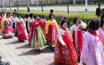 North Korean women in traditional attire. (Moshe Shai)