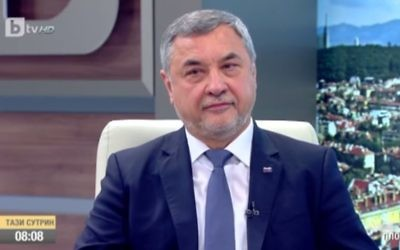 Bulgaria's deputy prime minister Valeri Simeonov, April 2017. (Screen capture: YouTube)