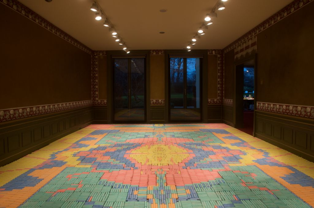 One of the joint exhibits created by Israeli and international designers for Jerusalem Design Week; a carpet made of crayons (Courtesy Boudewijn Bollmann)