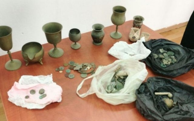 Antiquities recovered in a police raid on a Palestininan home in Beit Ula, near Hebron on May 10, 2017. (Police Spokesperson)