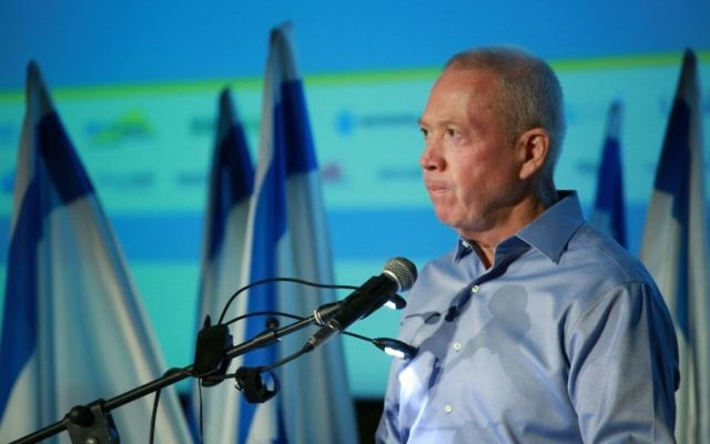 Housing Minister Yoav Galant calls for the assassination of Syrian President Bashar Assad at a conference in Latrun, near Jerusalem, on May 16, 2017. (Miriam Tzachi/Office of Yoav Gallant)