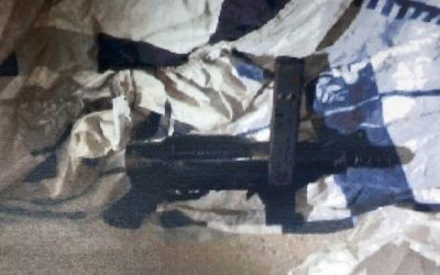 A Carlo-style submachine gun recovered by the Shin Bet, with which three Arab Israeli men from the Islamic Movement are suspected of planning to carry out a shooting attack against IDF soldiers. (Shin Bet)