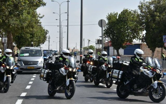 Donald Trump's motorcade leaving Jerusalem as he nears Bethlehem on May 23, 2017. (Israel Police)