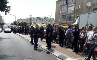 Police responded to a stabbing attack on an officer by a Palestinian man in the central Israeli city of Netanya on May 23, 2017. (Magen David Adom)