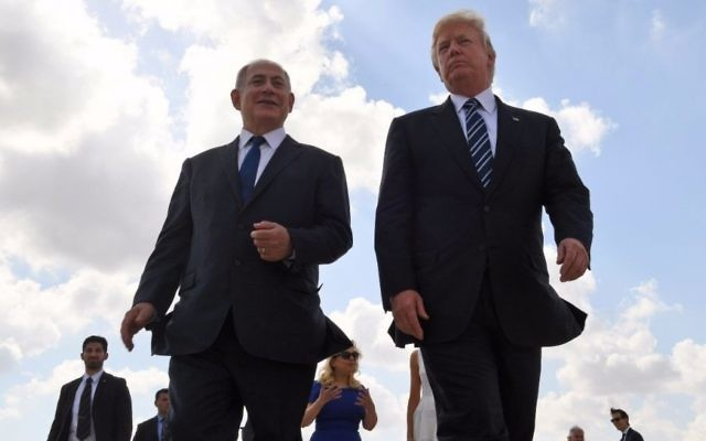 Prime Minister Benjamin Netanyahu (L) and US President Donald Trump seen at Ben Gurion International Airport prior to the latter's departure from Israel on May 23, 2017. (Koby Gideon/GPO)