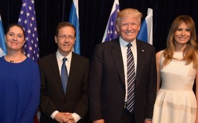 (R-L) US First Lady Melania Trump, US President Donald Trump, opposition leader Isaac Herzog and his wife Michal Herzog at the Israel Museum, Jerusalem. (Haim Zach/GPO)