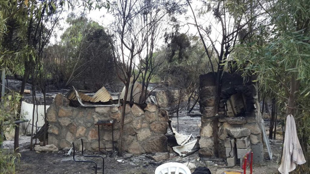 The remains of the torched Yeshivat Homesh in the northern West Bank on May 23, 2017. (Courtesy: Yeshivat Homesh)