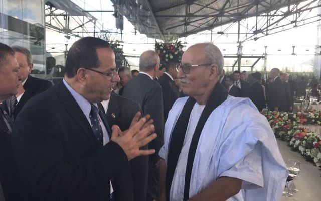 Likud Minister Ayoub Kara meets with prime minister of the Sahrawi Republic of southern Morocco, Abdelkader Taleb Omar in Ecuador on May 24, 2017.  (Courtesy)