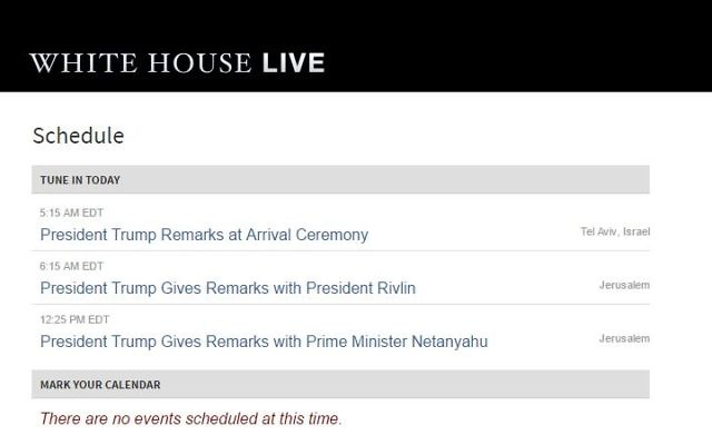 Screen capture from the White House website showing titles with Tel Aviv and Jerusalem datelines. (screen capture: The White House)
