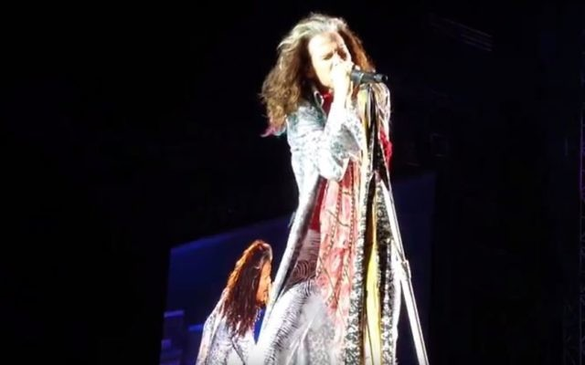 Steven Tyler of Aerosmith performing the song 'Crazy' in Tel Aviv on May 17, 2017. (screen capture: YouTube)