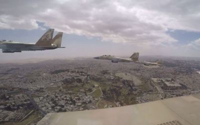 Israel Air Force' jets participate in the annual Independence Day flyover, May 3, 2017 (YouTube screenshot)