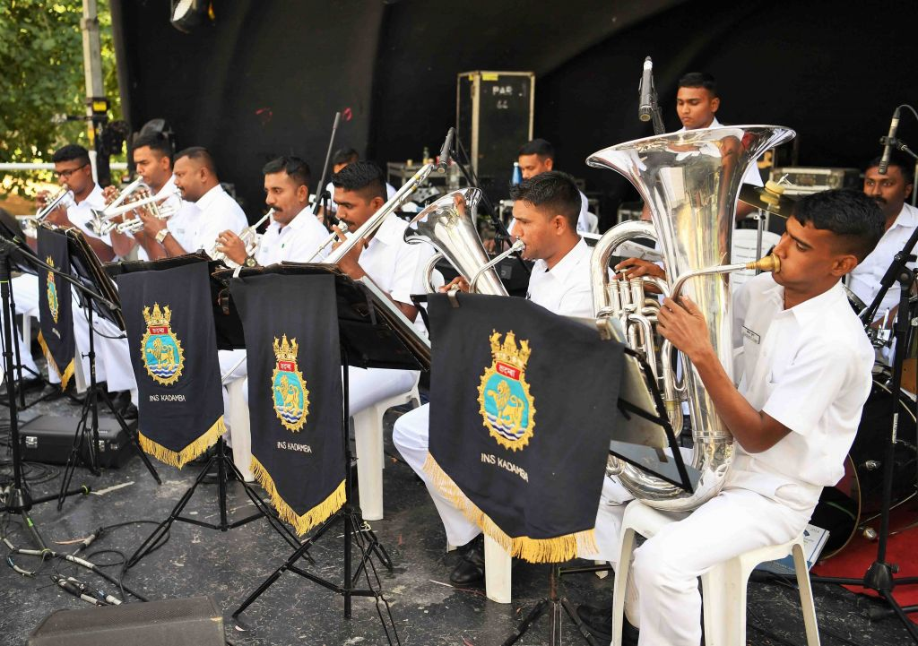 The Indian Navy band performs in a park in the northern city of Haifa, where three Indian ships are docked as part of an official visit, on March 9, 2017. (Reuven Cohen/Haifa Municipality)
