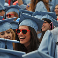 Barnard College graduates beam at the Columbia University commencement ceremony in New York, May 18, 2016.  (Timothy A. Clary/AFP/Getty Images)
