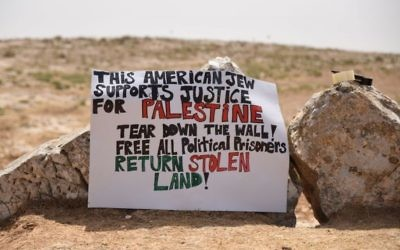 A sign put up by activists on the outskirts of the Sumud Freedom Camp they established on the South Hebron Hills on May 19, 2017, in solidarity with Palestinians. (Credit: Rami Ben Ari)