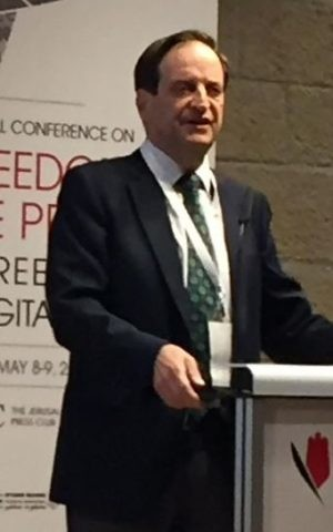 Dan Meridor speaks at a Jerusalem conference on the Freedom of the Press, May 8, 2017 (Times of Israel staff)