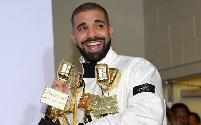 Rapper Drake poses in the press room with his 13 awards during the 2017 Billboard Music Awards at T-Mobile Arena on May 21, 2017 in Las Vegas, Nevada.  (Photo by David Becker/Getty Images via JTA)