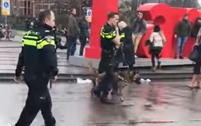 Dutch police officers in Amsterdam. (Screen capture, YouTube)
