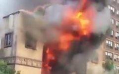 A fire broke out at the Beth Hamedrash Hagodol synagogue in Manhattan's Lower East Side, May 14, 2017. (Screenshot)