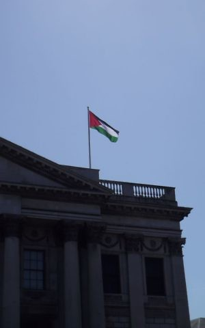 The Palestinian flag flies over Dublin's City Hall for first time ever May 9, 2017, following a vote by the city council. (Michael Riordan/Times of Israel)